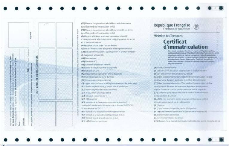 Visuel Certificat d'immatriculation